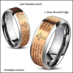 Jewelry - 2 Tone Titanium Etched RoseGold Comfort Ring